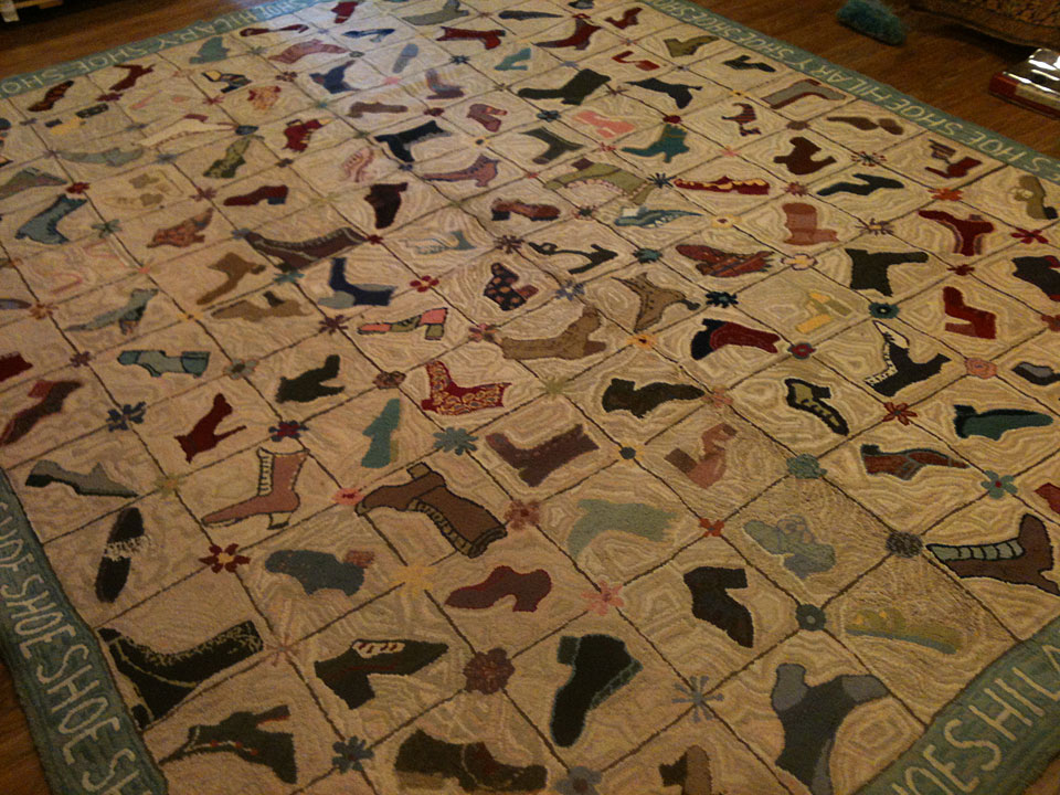 Antique hooked Carpet - # 7692