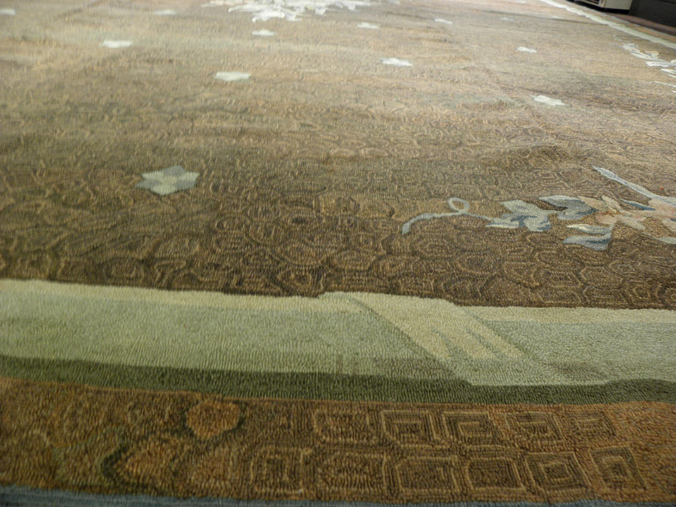 Antique hooked Carpet - # 7737